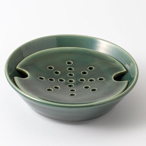 大堀相馬焼 陶吉郎窯 水切り皿(織部釉)