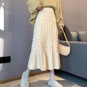 【ボトムス】好感度100% 韓国系 レトロ 森ガール シンプル ギャザー飾り 秋冬 スカート53283223