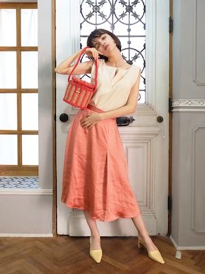 random slit satin skirt(apricot orange)