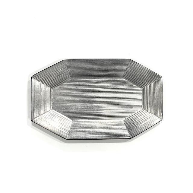 銀塗  八角プレート 25cm