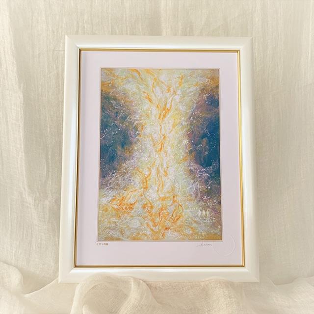 ヒーリングアート~エネルギーの柱 ブルー~  風水画 太子額装ジクレーアート