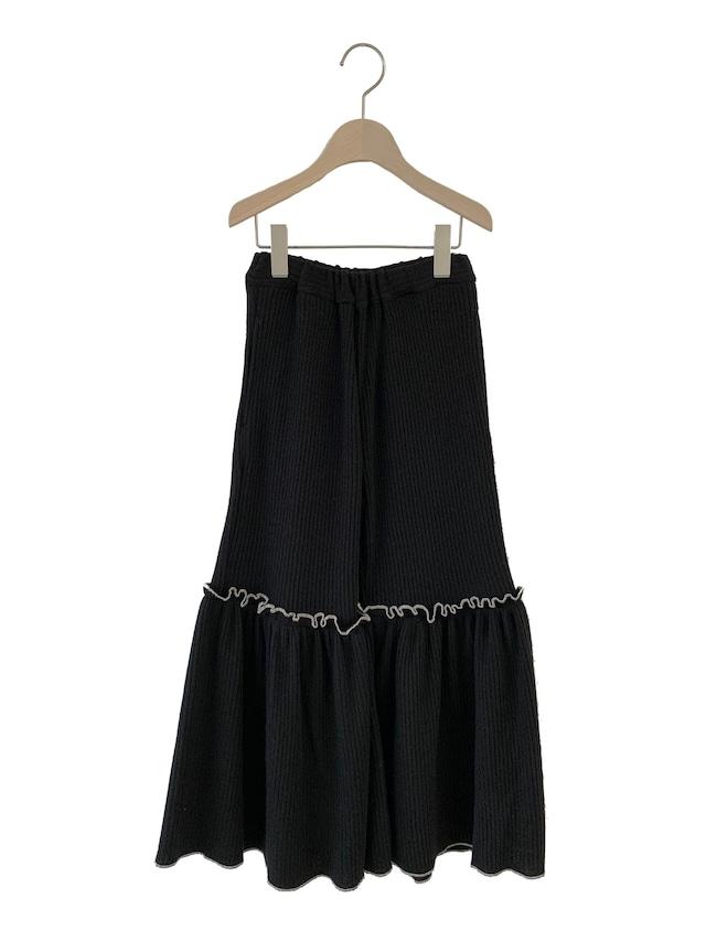 UNIONINI rib knit frill long pants (black)  S/M
