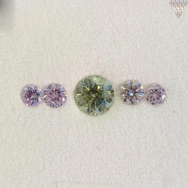 合計  0.73 ct 天然 カラー ダイヤモンド 5 ピース GIA  1 点 付 マルチスタイル / カラー FANCY DIAMOND 【DEF GIA MULTI】