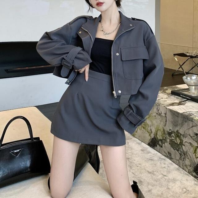 クロップドジャケット+ミニスカート S4749