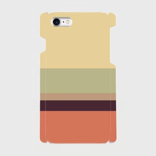 レトロストライプ(薄黄・薄緑・薄茶・紺・赤)/iPhoneスマホケース(ハードケース)