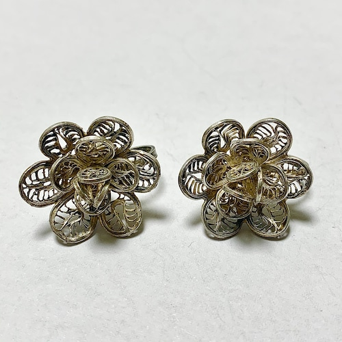 Vintage  Sterling Filigree Floral Earrings Made In Mexico
