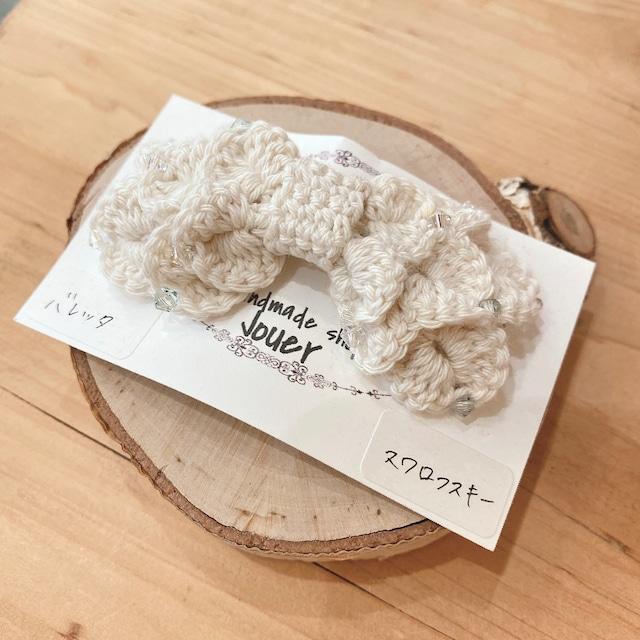 手縫いレースのリボンヘアバレッタ スワロフスキー ホワイト2