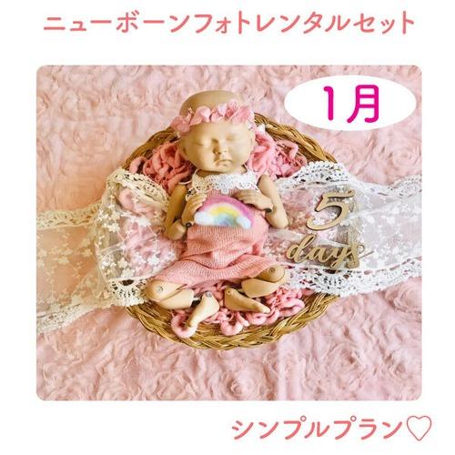 幸せのガーリピンク♡シンプルプラン♡ニューボーンフォトレンタル女の子セット<1月ご出産予定日のお客様枠>