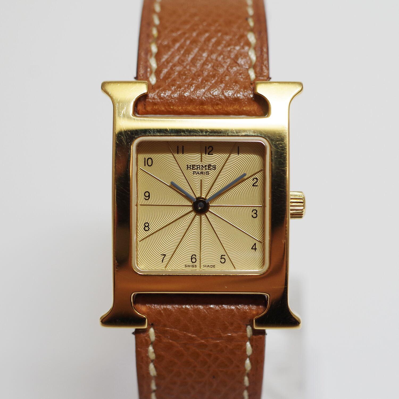 HERMES エルメス Hウォッチ PM HH1.201 SS 革ベルト クォーツ 腕時計 レディース