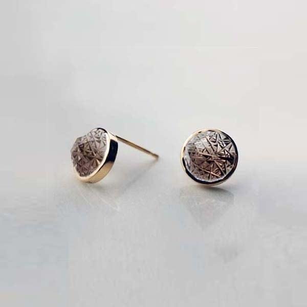 Smoky Quartz KIRIKO Pierced Earrings (Round)