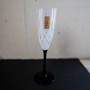 フルートワイングラス 廣田硝子 大正浪漫ガラス( 格子 )