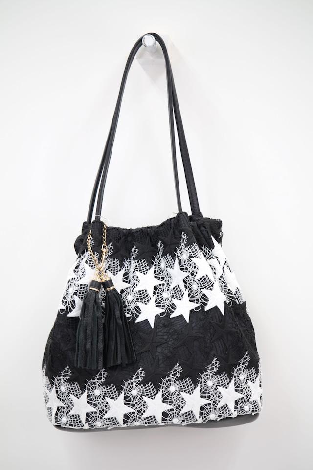 星刺繍の布バッグ
