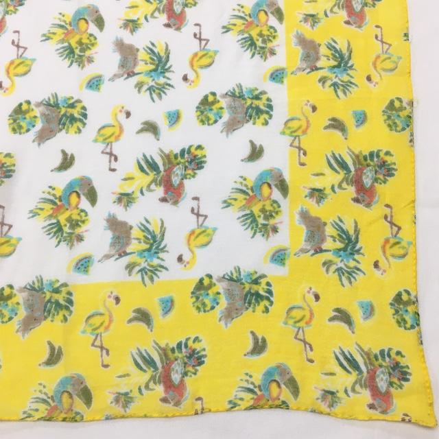 小さめスカーフ コットンプリントラミンゴ