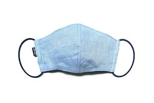 【新作夏用マスク 吸水速乾COOLMAX使用 日本製】サマーリネンマスク ライトブルー