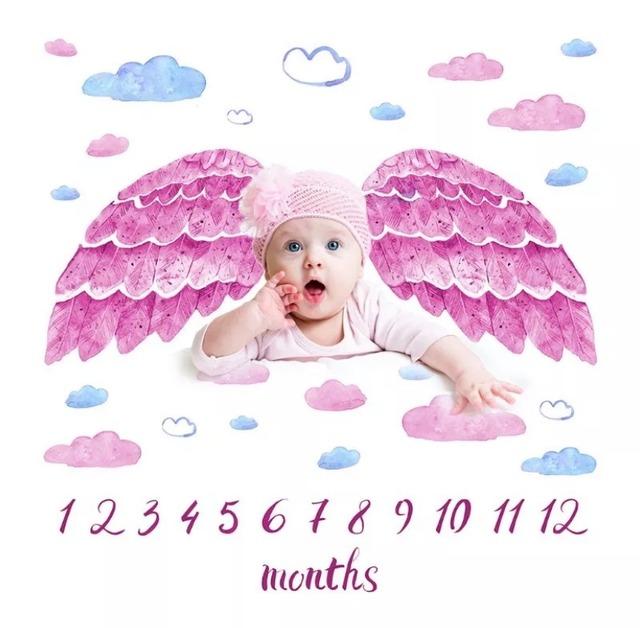 商品番号861 ベビーフォトブランケットピンク天使の羽根