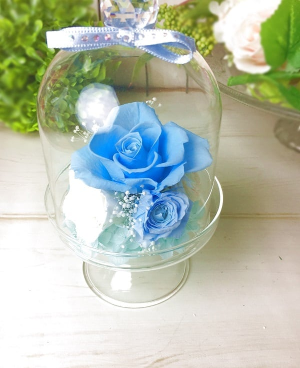 【母の日】プリザーブドフラワークリスタルドーム Blue【贈り物に】