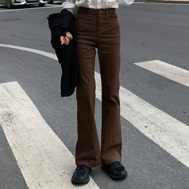 【ボトムス】絶対欲しい  売り切れ必至 ファッション カジュアル 切り替え ボタン ハイウエスト レギュラー丈 デニムパンツ53622604