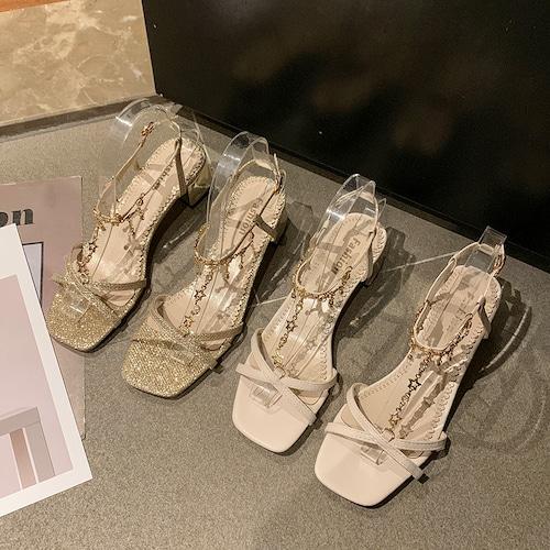 サンダル ラインストーン クロスストラップ 5cm チャンキーヒール スクエアトゥ 韓国ファッション レディース アンクルストラップ パンプス 痛くない かわいい 靴 歩きやすい 597321753157