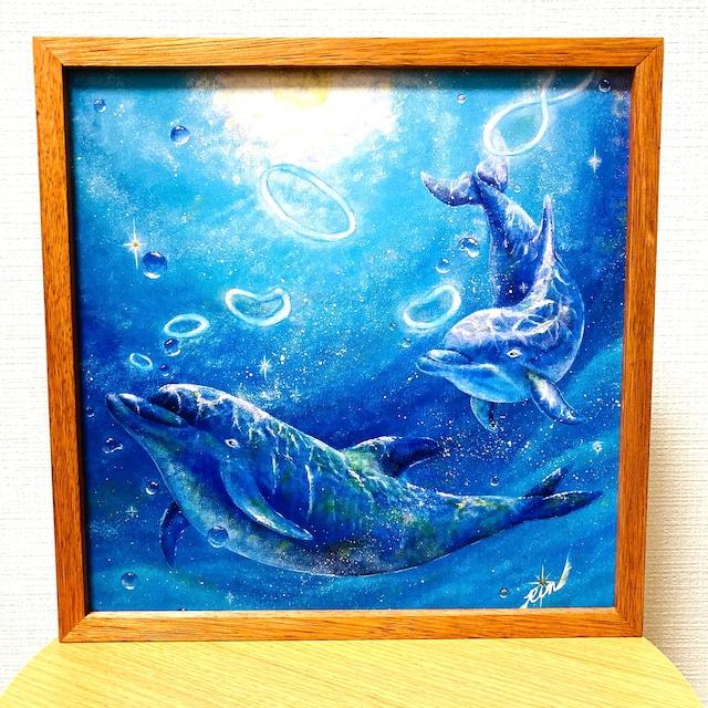 作品 : Sparkle ~ひかりの記憶~ 絵 絵画 イルカ いるか 海豚 アニマル 動物 縁起絵 パステル画 アクリル画 水彩画 アート アートパネル 運気が上がる 縁起画良い ピクチャー 送料無料 インテリア 雑貨 大きい ロココロ  画家 : Rin