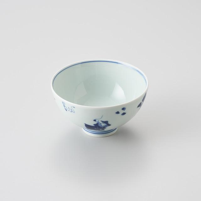 """【青花】""""異人づくし"""" 3.8寸丸飯碗"""