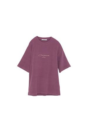 ピーチスキンロゴプリントTシャツ< purple >