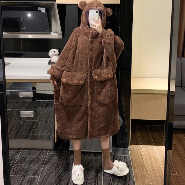 【萌量不足シリーズ】★パジャマ★ 2color 熊 ルームウェア 部屋着 ブラウン パープル 帽子付き 厚て 可愛い