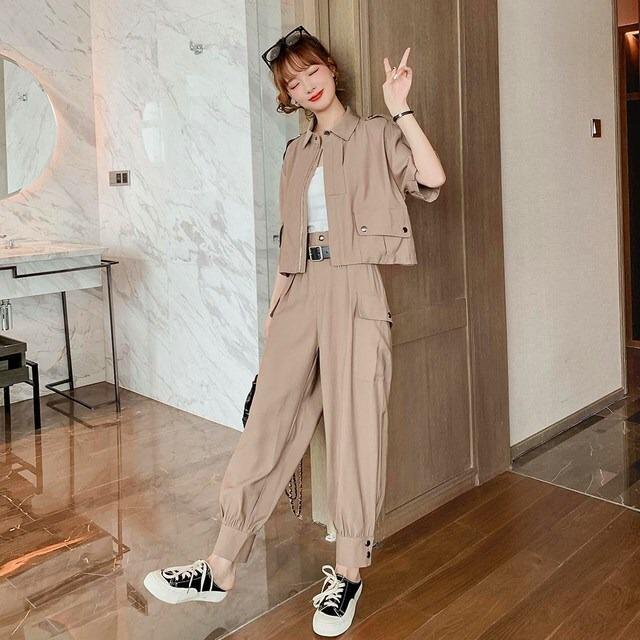 【セット】韓国系半袖ジッパーPOLOネックシャツ+カジュアルパンツ32515494