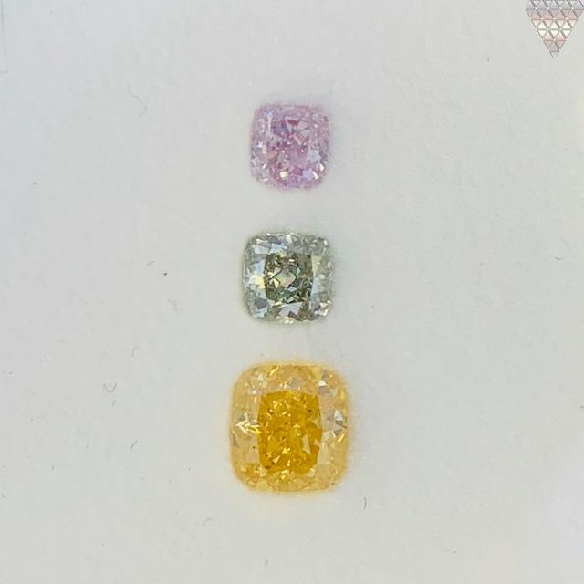 合計  0.83 ct 天然 カラー ダイヤモンド 3 ピース GIA  1 点 付 マルチスタイル / カラー FANCY DIAMOND 【DEF GIA MULTI】