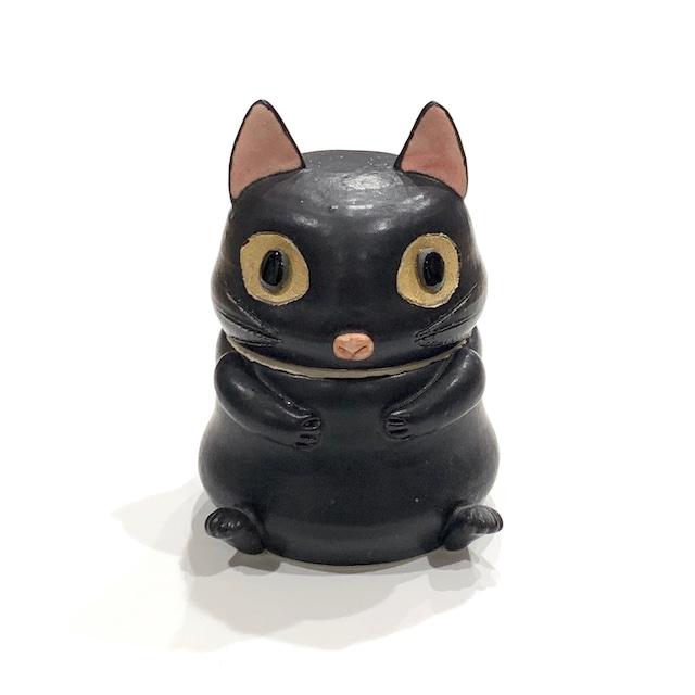 黒猫  蓋物[八木下裕]