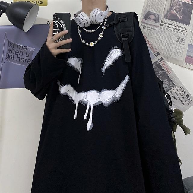 【トップス】ストリート系ファッション悪魔笑顔暗黒系3色長袖Tシャツ34069844