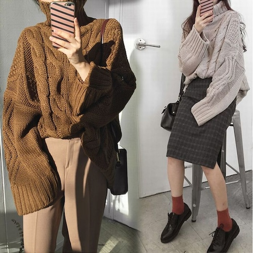 ケーブル編み セーター ニット 韓国ファッション レディース タートルネック 袖ボリューム 長袖 ニットセーター プルオーバー DTC-608582220507