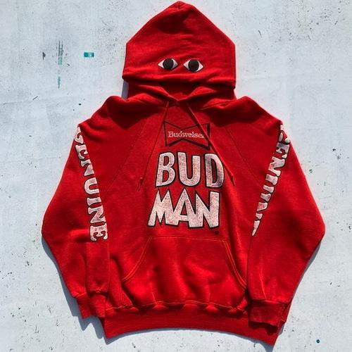 80's~ Budweiser バドワイザー BUDMAN バドマン スウェットパーカー 赤 レッド ビール キャラクター USA製 XL 希少 ヴィンテージ BA-797 RM1166H