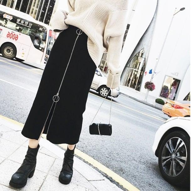 【S-5XL】ストレッチフロントファスナースカート