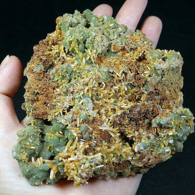 大きい!メキシコ産 ミメタイト + モリブデン鉛鉱 ミメット鉱  510g WF025 天然石 鉱物 標本 原石