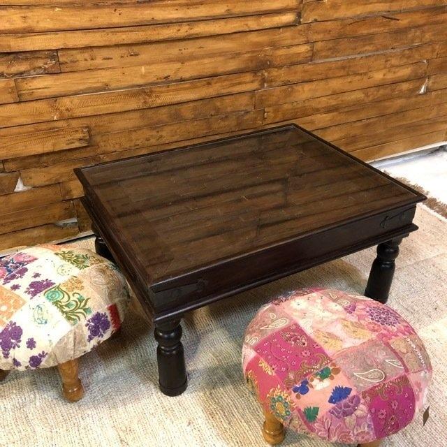 古木のガラス天板ローテーブル