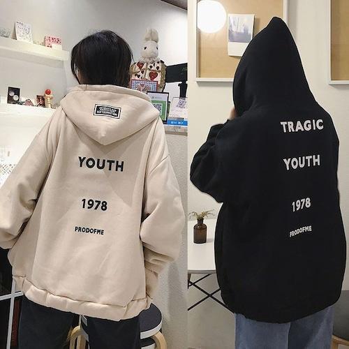 ジップアップ パーカー 韓国ファッション レディース スウェット バックプリント 英字 オーバーサイズ パーカー DTC-561821959124