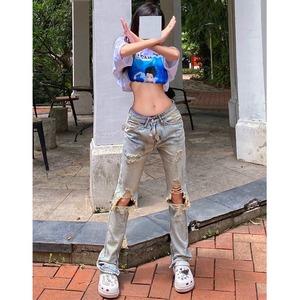 【ボトムス】ストリート系ダメージ加工かっこいいファッションデニムパンツ49101851