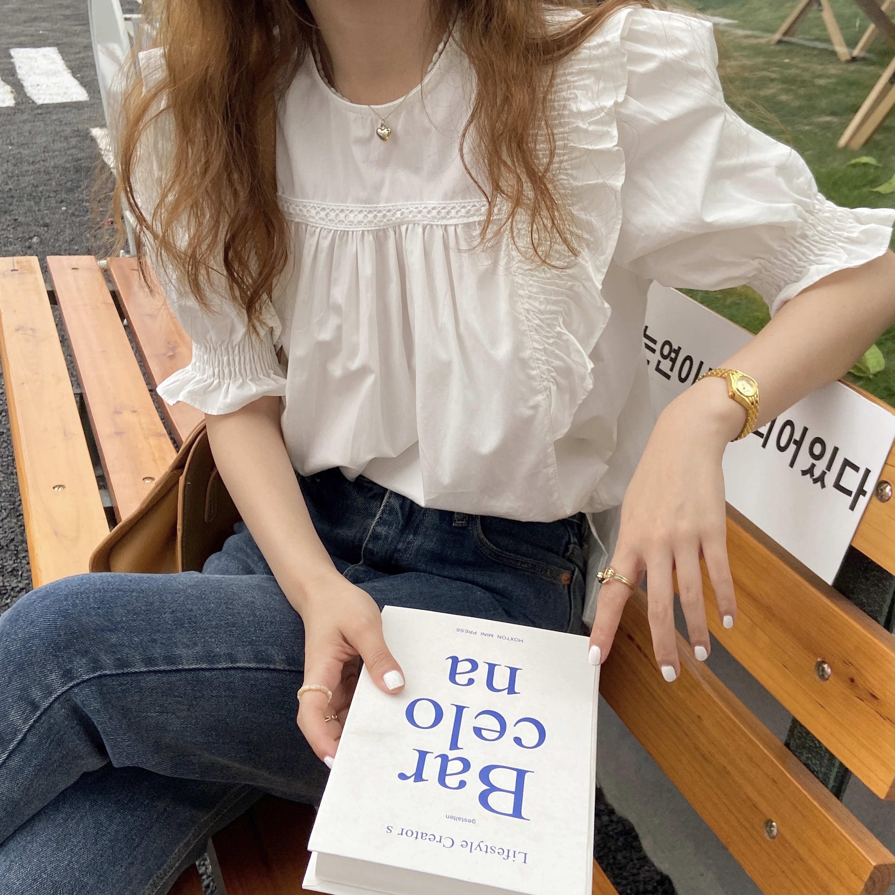 Frill Ruffle blouse(white)