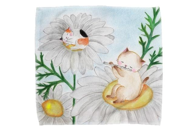 【即日出荷用】フルート猫とマーガレットのミニタオル
