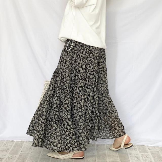 ◆即納◆ウエスト ゴム小花柄 ティアードシフォンロングスカート 2S-060