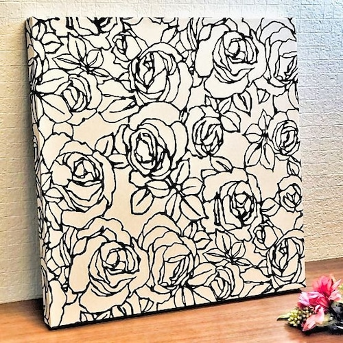壁紙アートパネル|花柄・薔薇柄|モノトーン|Made in Kuukan aga