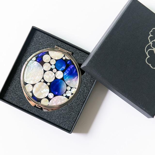 天然貝 コンパクトミラー(プラネットロンド)シェル・螺鈿アート プレゼント・ギフトにおすすめ