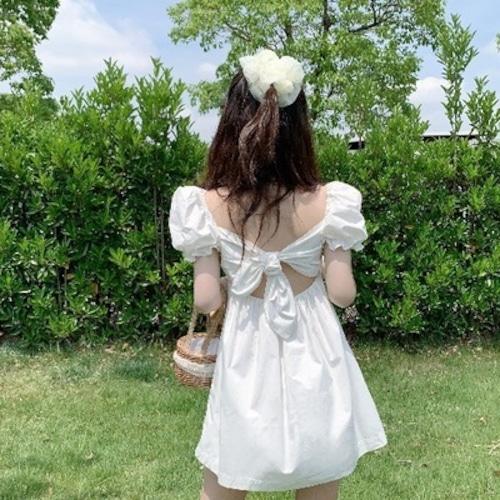 バックリボンワンピース Aライン リボン 背中 ホワイト フレンチ 大きい ハイウエスト ロリ 夏 10代 20代 可愛い デート リゾート ma015