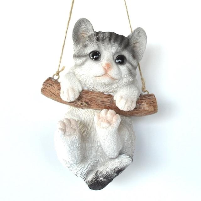 キャットオーナメント ハンギング サバトラ 14219 ねこ ネコ ハンギング オブジェ 飾り 吊り下げ ぶら下がり かわいい