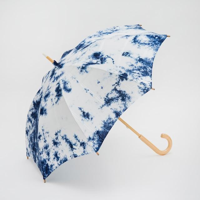 黒紋付染め日傘「青霧 -あおきり-(Blue fogs)」