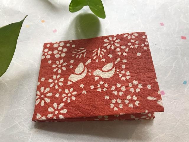 京都黒谷和紙 型染めミラー (赤茶色)