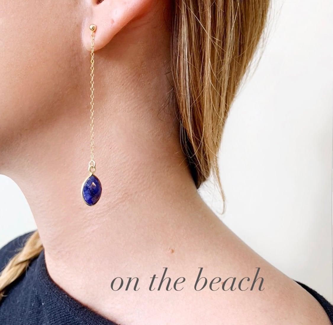 sapphire chain pierced earrings / OTB-71