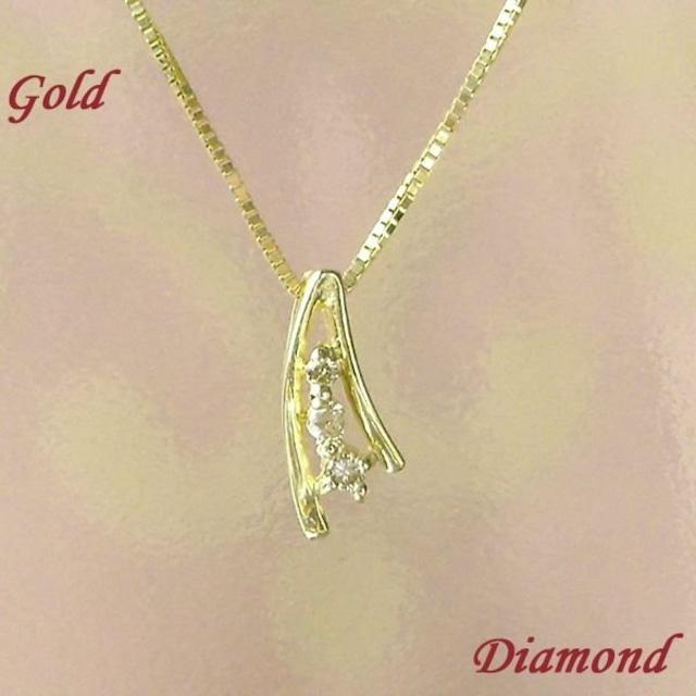 ダイヤモンド ネックレス 10金ゴールド レディース ベネチアンチェーン k10 シンプル