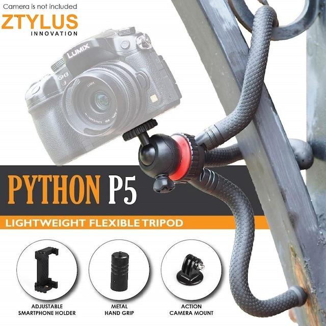 ZTYLUS IPLAYBOX Python P5 12 フレキシブルミニ三脚、スマートフォンホルダー、スタンド アクションカメラマウント、ボールヘッド、アルミハンドグリップ、軽量&ポータブル、iPhone、Samsung、GoPro、カメラ用トラベルガジェット