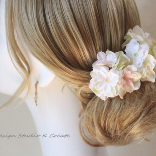 ウェディングに♡優しい色の八重の紫陽花のUピン(GNPK L:3本セット)結婚式 成人式 卒業式 ブライダル ウェディング 髪飾り